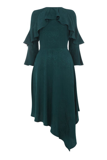 Warehouse, SOFT JACQUARD ASYMMETRIC DRESS Dark Green 0