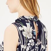 Warehouse, HIGH NECK FLORAL TOP Multi 4