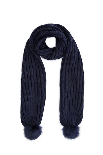 Warehouse, FAUX FUR POM SCARF Navy 0