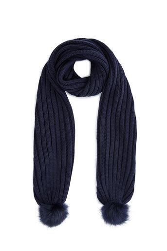 Warehouse, Sjaal met pompons van nepbont Marineblauw 0
