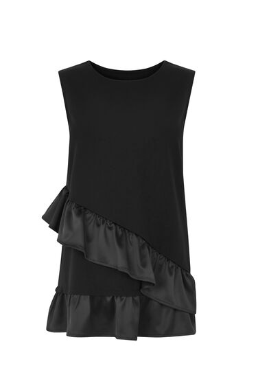 Warehouse, SATIN ASYMMETRIC PONTE TOP Black 0