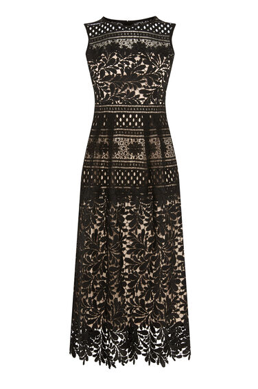 Warehouse, MULTI LACE MIDI DRESS Black 0