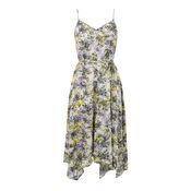 Warehouse, CLOUD BURST HANKY HEM DRESS Purple Pattern 0