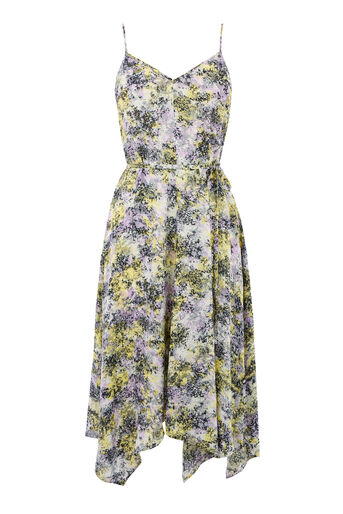 Warehouse, CLOUD BURST HANKY HEM DRESS Purple Pattern 0