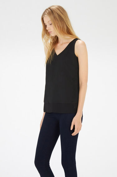 Warehouse, CHIFFON DETAIL VEST Black 1