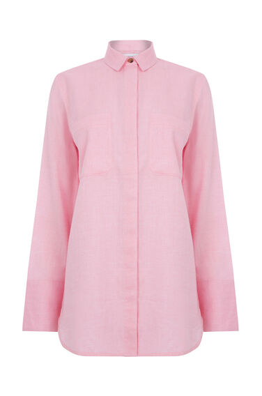 Warehouse, RELAXED TWIN POCKET SHIRT Bright Pink 0