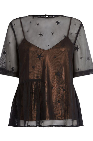 Warehouse, STAR EMBROIDERED TOP Black 0