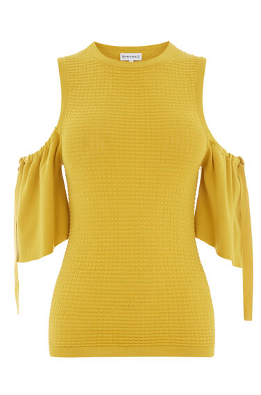 Warehouse, TEXTURED COLD SHOULDER TOP Mustard 0