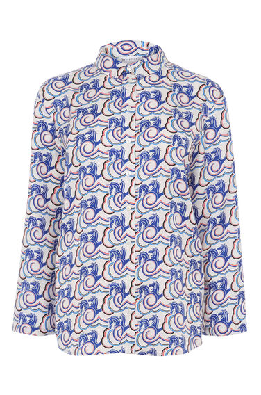 Warehouse, STALLION CLOUD SILK SHIRT Neutral  Print 0