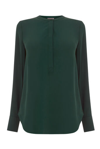Warehouse, LONG SLEEVE BUTTON SIDE BLOUSE Dark Green 0