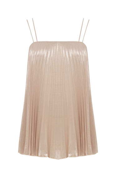 Warehouse, PLEATED LAMÉ CAMI Light Pink 0