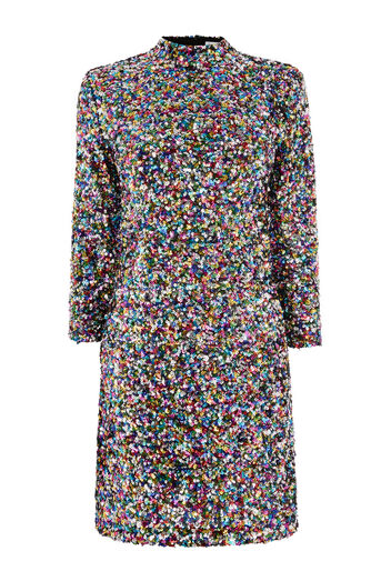 Warehouse, RAINBOW SEQUIN HIGH NECK DRESS Multi 0