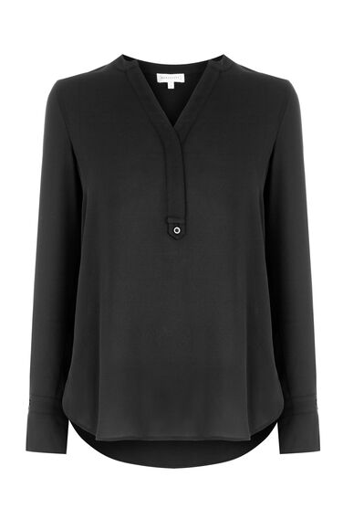 Warehouse, TAB PLACKET BLOUSE Black 0