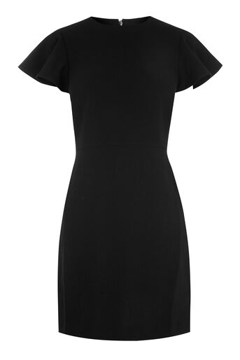 Warehouse, FRILL SLEEVE CREPE DRESS Black 0
