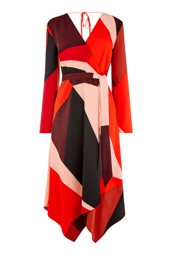 Warehouse, CUT OUT BLOCK PRINT WRAP DRESS Red Pattern 0