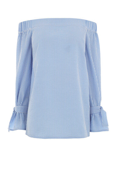 Warehouse, TIE STRAP BARDOT TOP Blue Stripe 0
