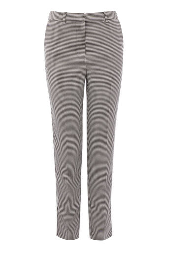 Warehouse, DOGSTOOTH SLIM LEG TROUSERS Black Pattern 0