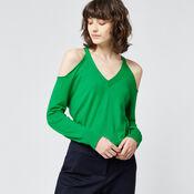 Warehouse, COLD SHOULDER V NECK JUMPER Bright Green 1