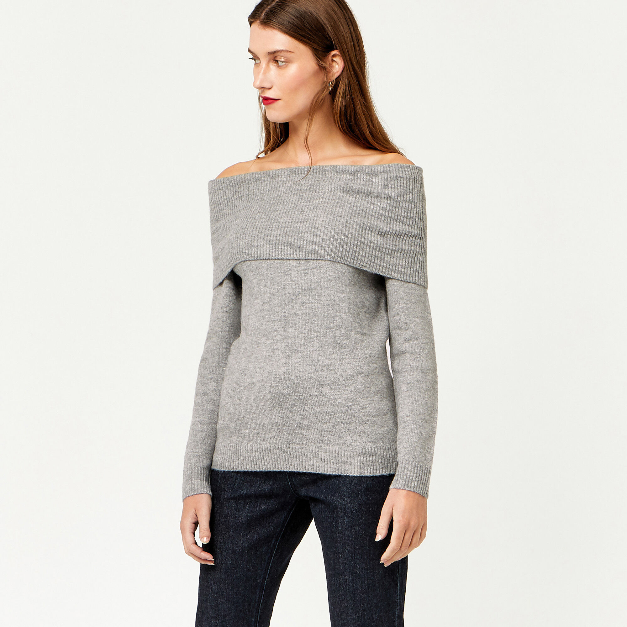 Warehouse, SOFT DEEP BARDOT JUMPER Dark Grey 1