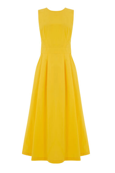 Warehouse, TIE DETAIL COTTON DRESS Yellow 0