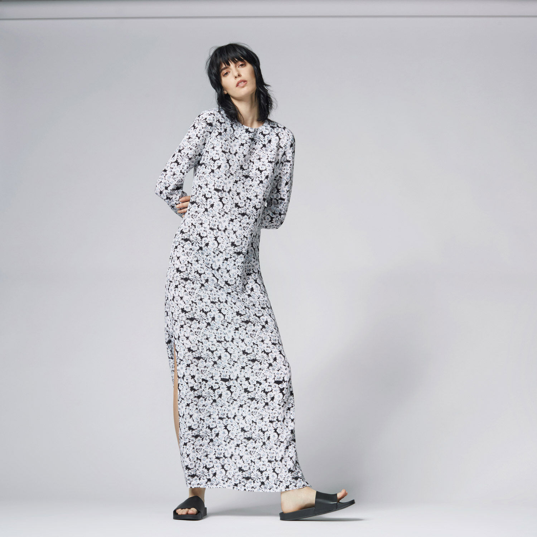 Warehouse, DAISY SILK COLUMN MAXI DRESS Neutral  Print 1