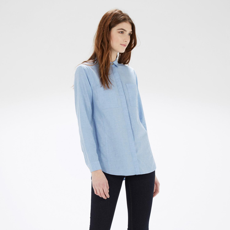 Warehouse, Relaxed Curved Hem Shirt Light Blue 1