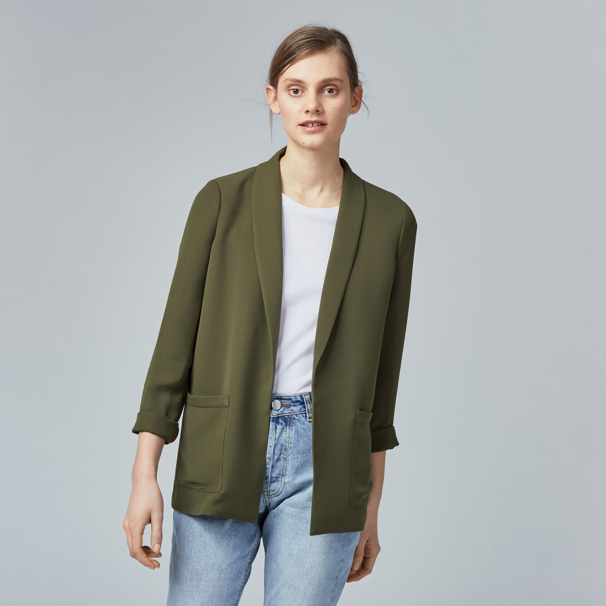 Warehouse, RELAXED FIT JACKET Khaki 1
