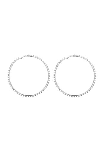 Warehouse, CLEAR STONE LARGE HOOP Silver Colour 0