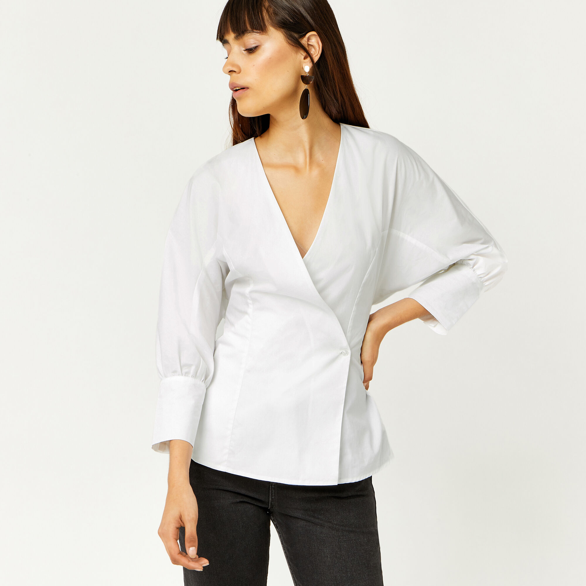 Warehouse, COTTON RUCHED DETAIL SHIRT White 1