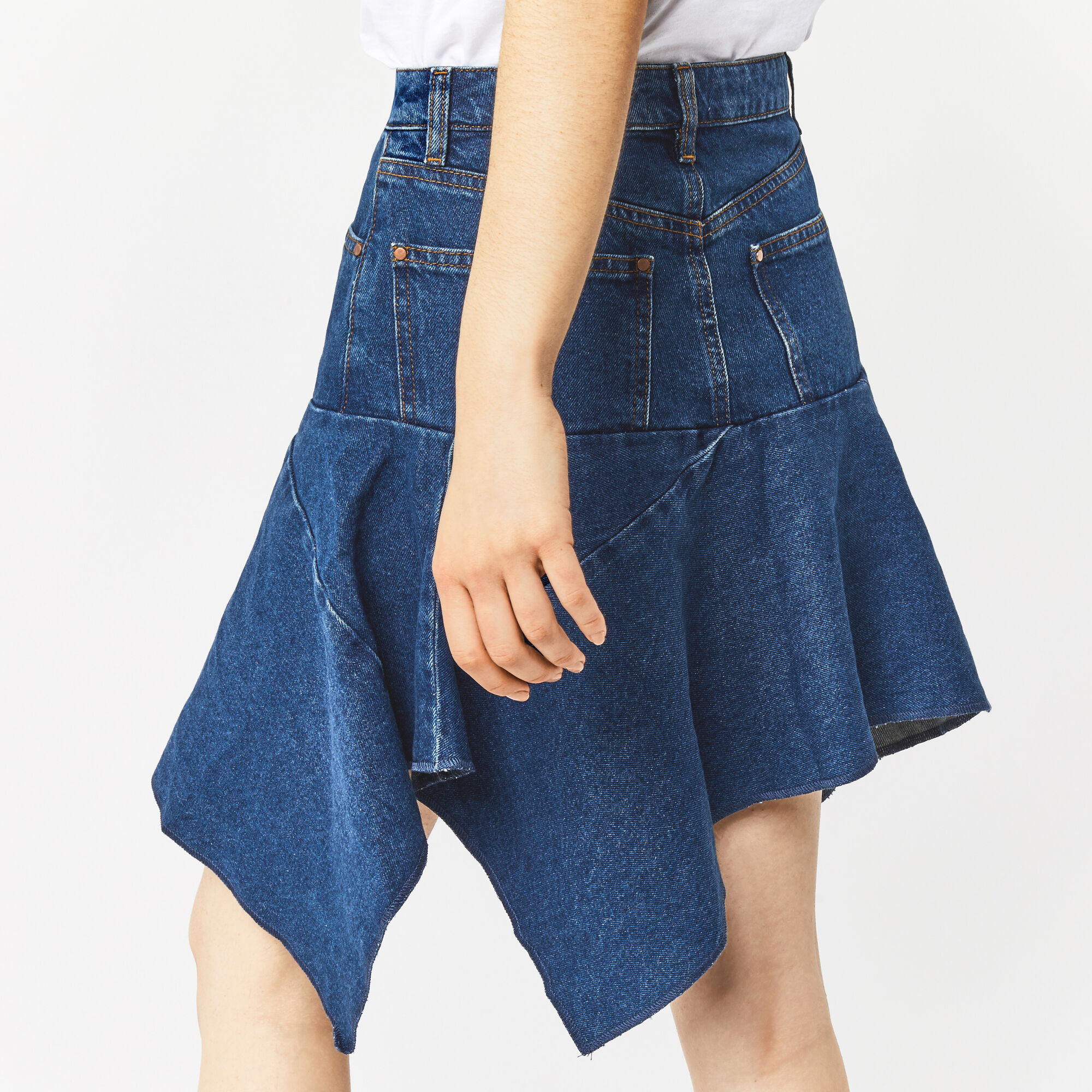 Warehouse, Cut Out Asymmetric Skirt Mid Wash Denim 1