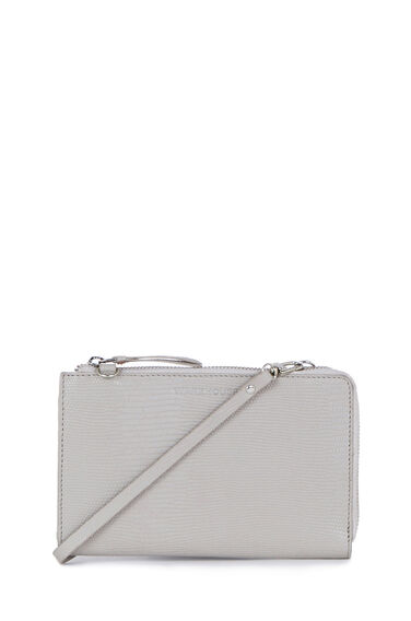 Warehouse, Leather Crossbody Wallet Light Grey 0