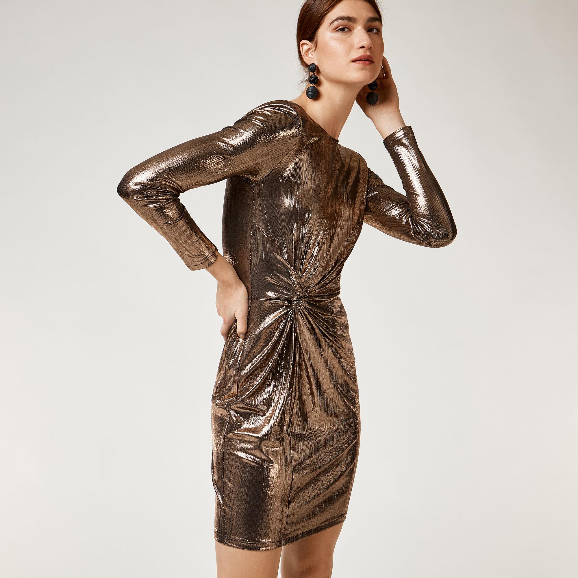 Warehouse, METALLIC KNOT MINI DRESS Bronze Colour 1