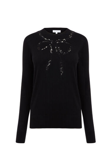 Warehouse, LACE BOW CREW JUMPER Black 0