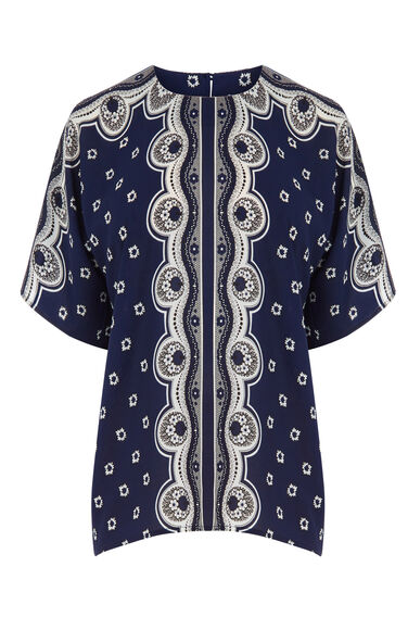 Warehouse, BANDANA PRINT T-SHIRT Navy 0