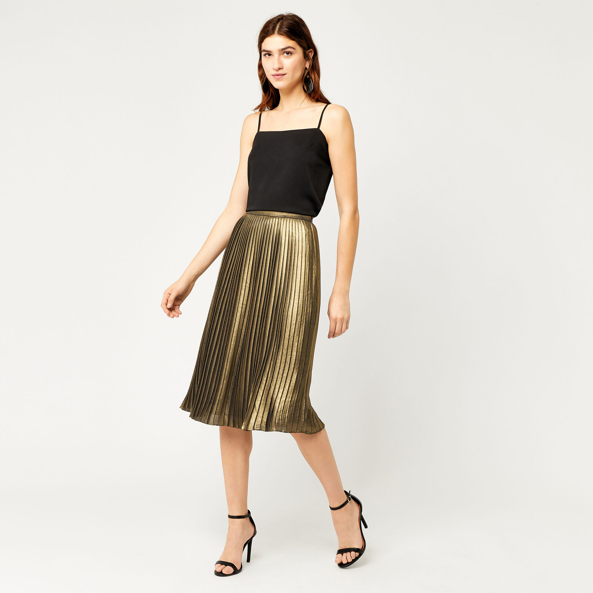 Warehouse, FOIL PLEATED SKIRT Gold Colour 1