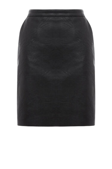 Warehouse, Faux Leather Clean Skirt Black 0