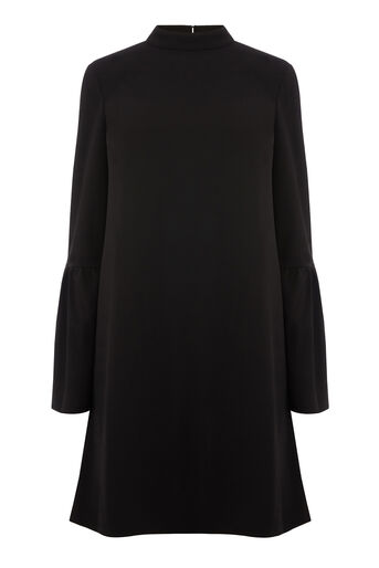 Warehouse, FLUTE SLEEVE CREPE DRESS Black 0