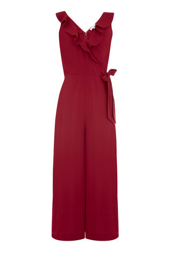 Warehouse, FRILL WRAP JUMPSUIT Dark Red 0