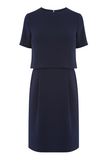 Warehouse, DOUBLE LAYER DRESS Navy 0