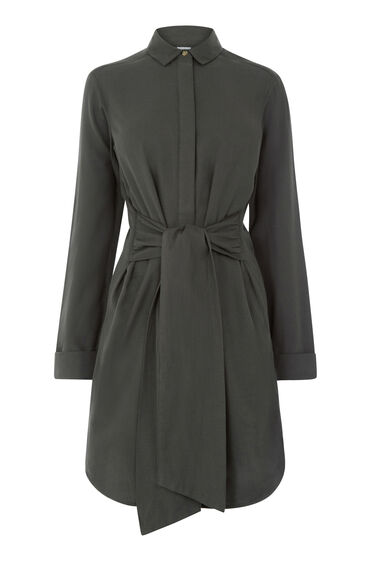 Warehouse, BELTED COTTON SHIRT DRESS Dark Green 0