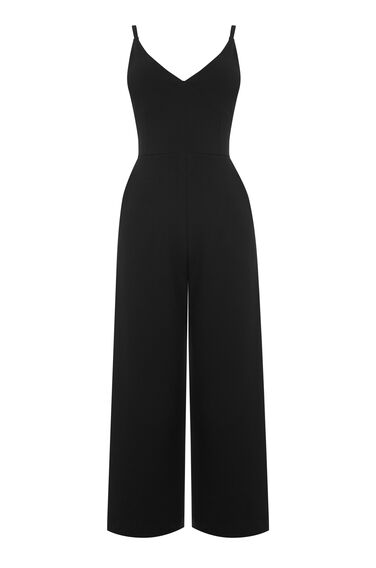 Warehouse, STRAPPY CREPE JUMPSUIT Black 0