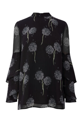 Warehouse, DANDELION PRINT TOP Black Pattern 0