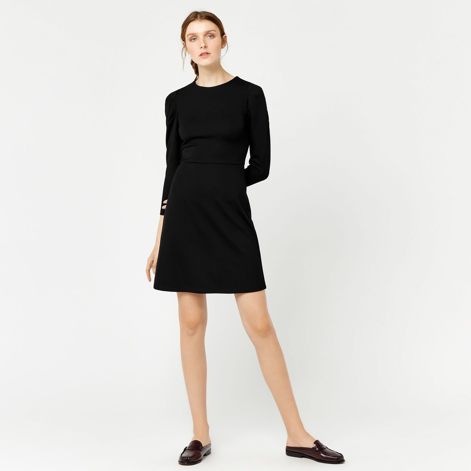 Warehouse, PUFF SLEEVE PONTE DRESS Black 1