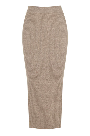 Warehouse, RIB COLUMN MIDI SKIRT Brown 0