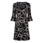Warehouse, ROPE PRINT PONTE DRESS Black Pattern 0