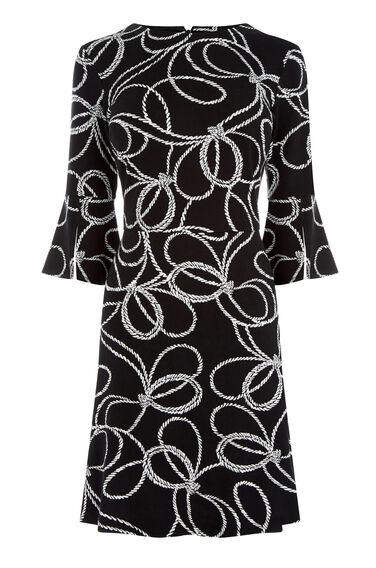 Warehouse, ROPE PRINT PONTE DRESS Black Pattern 0