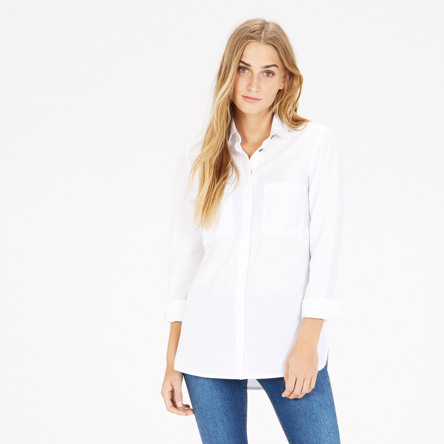 Warehouse, Relaxed Curved Hem Shirt White 1