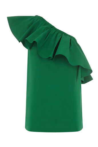 Warehouse, COTTON RUFFLE ONE SHOULDER TOP Bright Green 0