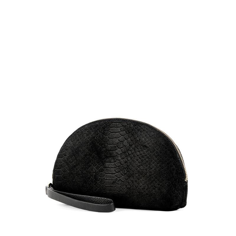 Warehouse, SUEDE EMBOSSED CLUTCH BAG Black 1