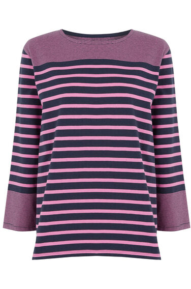Warehouse, ENGINEERED STRIPE TOP Pink Stripe 0